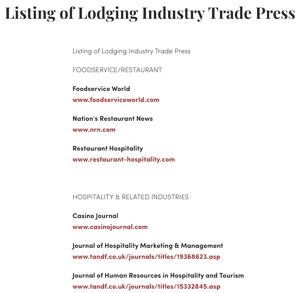 Listing of Lodging Industry Trade Press