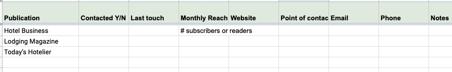 Outreach spreadsheet for publications