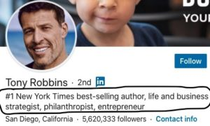 Tony robbins LinkedIn headline