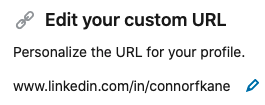 edit custom linkedin url